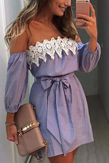 Sexy Off Shoulder Stripe Pattern Self-Tie Design Robe