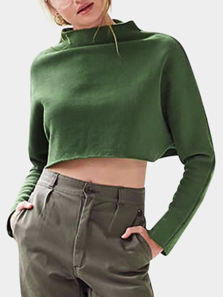 Green Cropped Crew Neck Long Sleeves Sweatshirts