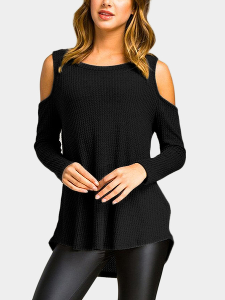 Black Cold Shoulder Long Sleeves Irregulr T-shirt