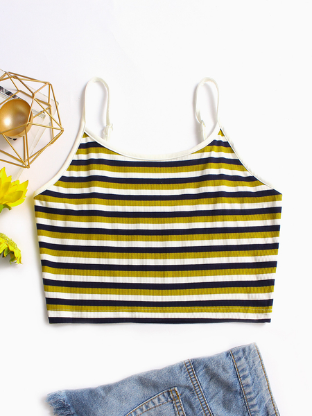 Yellow Stripe Pattern Spaghetti Crop Top