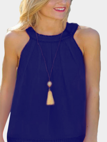 Dark Blue Hollow Out Back Lace Detail Sleeveless Vest