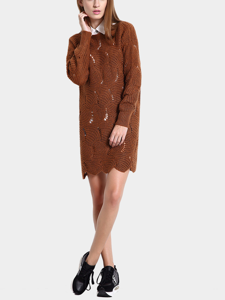 Cutout Sweater Dress in Coffee
