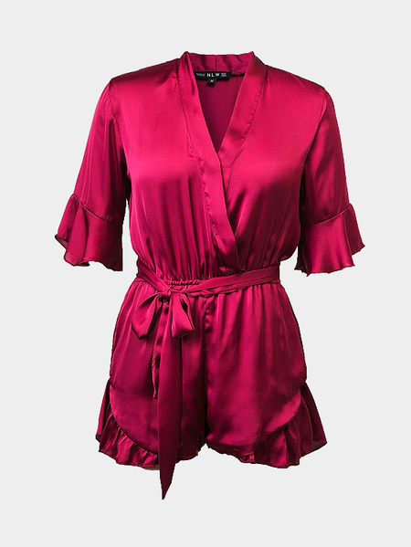 Casual Lantern Sleeves Plunge Playsuit