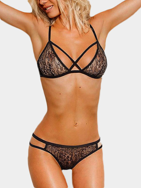 Black Lace Details See-through Lingerie Sets