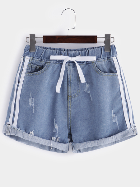 Light Blue Drawstring Low-wasited Shorts