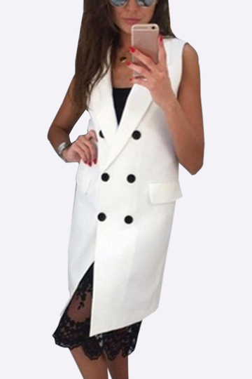 White Fahsion Lapel Collar Gilet Outerwear With Double-breasted