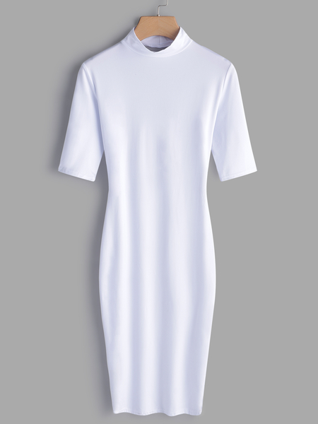 White Backless Round Neck Bodycon Fit Dress