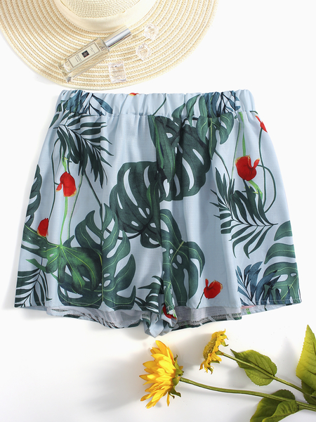 Light Blue Floral print Low-waisted Shorts