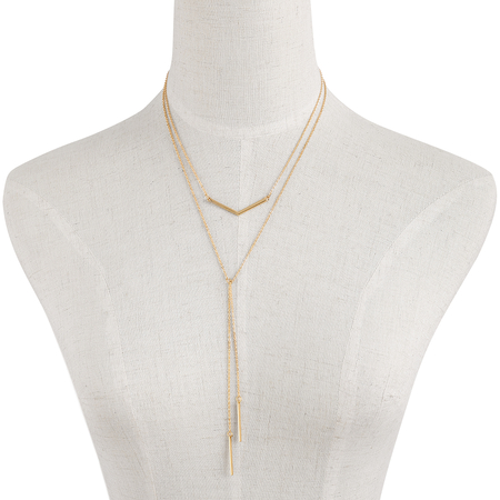 Double Bar und Tassel Pendant Layered Halskette