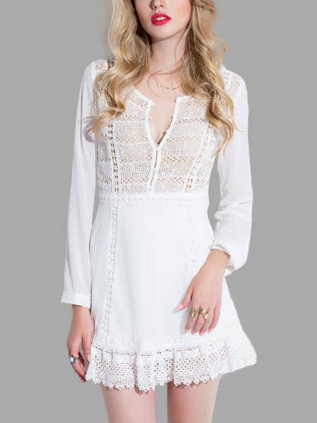 Hollow Out Lace Dress with Long Sleeves