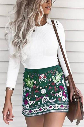 A-line Floral Print Mini Skirts in Green