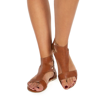 Brown Rivets Design Flat Sandals