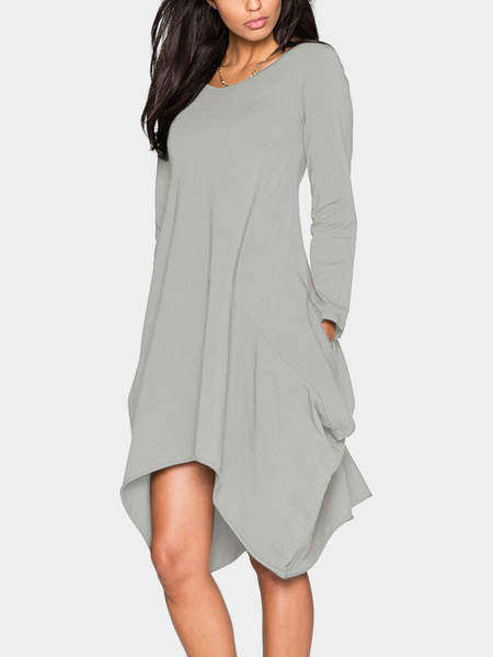 Grey Two Pockets Round Neck Irregular Dress
