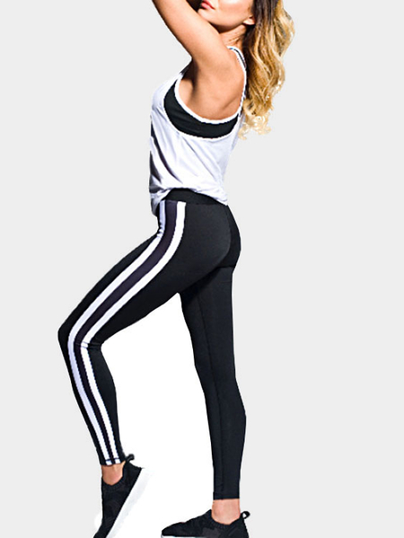 Casual Bodycon Elastic Waist Stripe Jogging Pants in Black