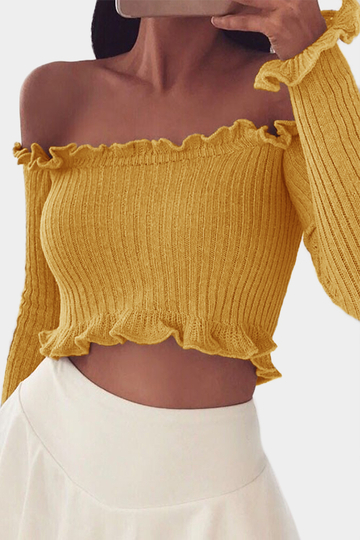 Yellow Off The Shoulder Long Sleeves Crop Top
