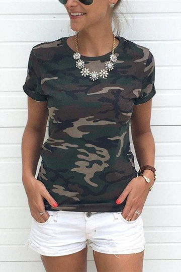 Crew Neck Camo Print Tees in Army Green