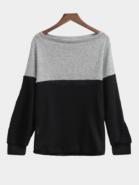 Grey and Black Long Sleeves Off Shoulder Top