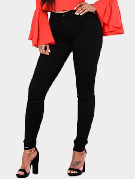 Black Middle-waisted Skinny Jeans
