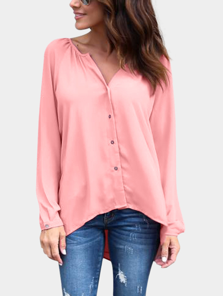 Pink Plain Classic Collar Long Sleeves Shirt