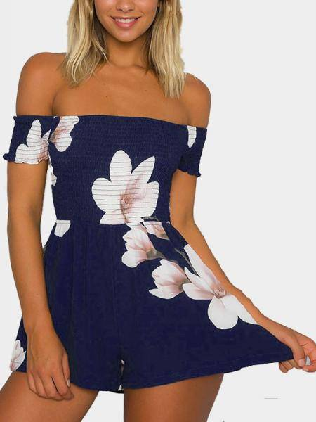 Off-The-Shoulder Random Floral Print Ruching Bodice Playsuit in Navy