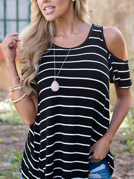 Causal Cold Shoulder Stripe Pattern T-shirt