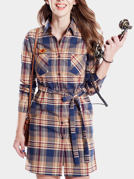 Casual Grid Long Sleeves Dress with Self-tie Waist