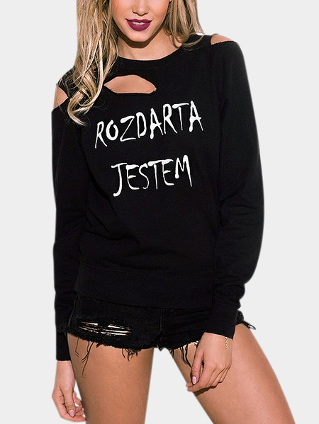 Black Round Neck Letter Pattern Ripped Long Sleeves Sweatshirt
