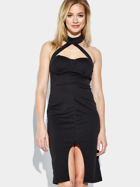 Sleeveless Front Split Halter Midi Dress in Black