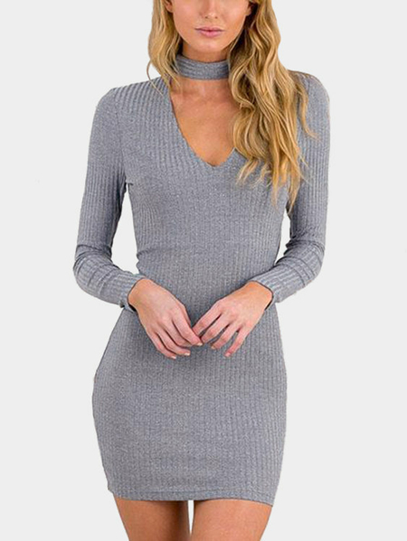 Gray V-neck Mini See-through Thin Bottoming Dress
