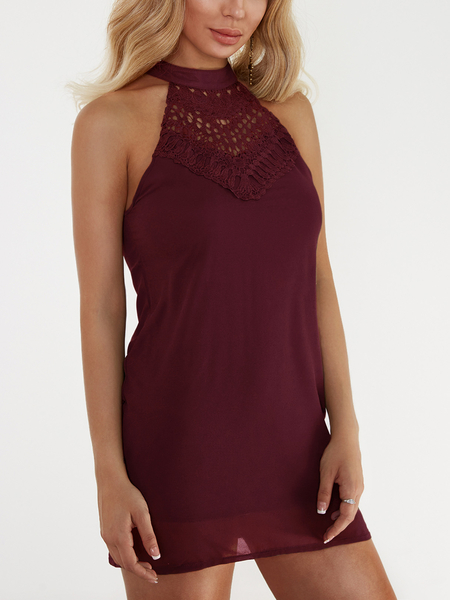 Burgundy Crochet Lace Front Sleeveless A-line Chiffon Mini Dress