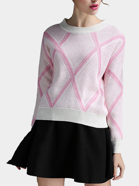 Pink Rhombus Pattern Jumper and Flounced Hem Mini Skirt