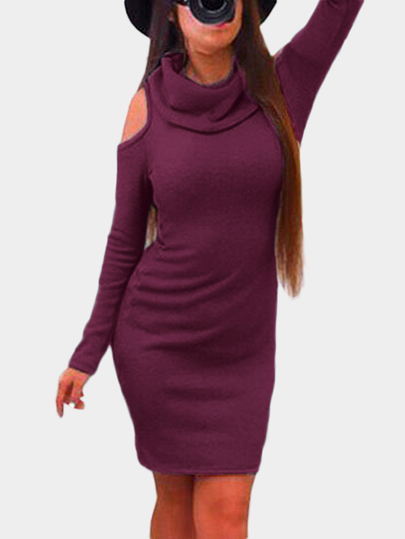 Purple Cold Shoulder Long Sleeves Mini Dress