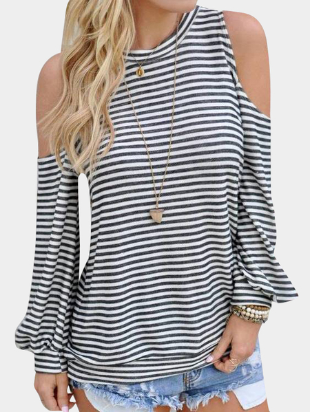 Stripe Cold Shoulder Long Sleeves T-shirt