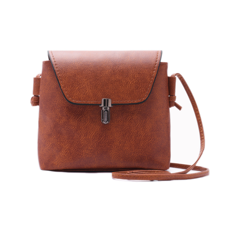 Light Brown  Crossbody Bag with Latch Fastener