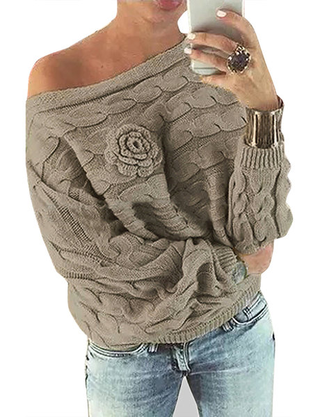 Khaki Off Shoulder Bat-wing Sleeves Random Floral Sweater