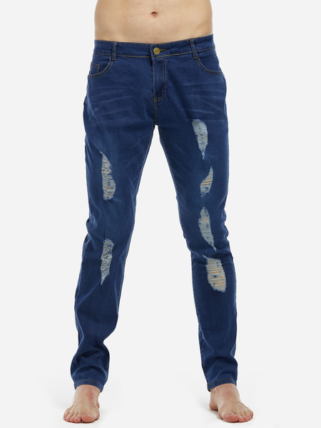 Blue Washed Ripped Middle Waisted Skinny Jeans For Men