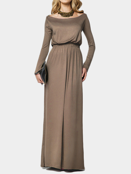 Camel Scoop Neck Elastic Waist Maxi Dress