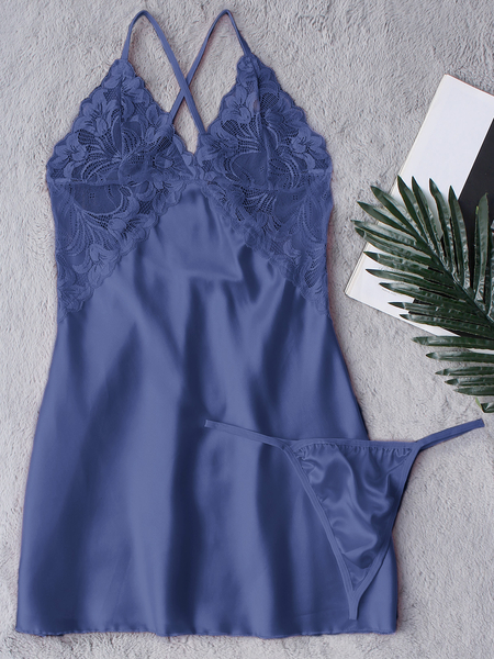 Blue See-through Lace Crossed Back Pajamas with T-Back