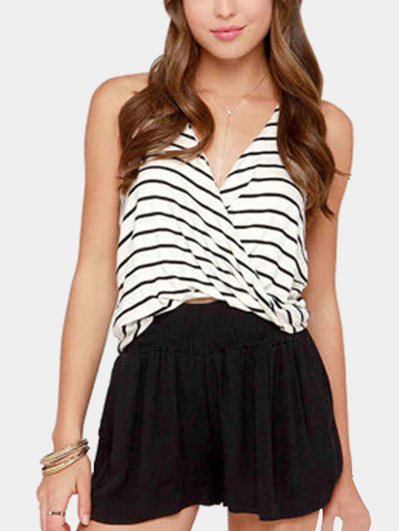 V-neck Stripe Pattern Crossed Front Sleeveless Top