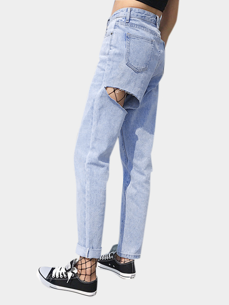 Light Blue Fashion Butt Ripped Detalhes Jeans