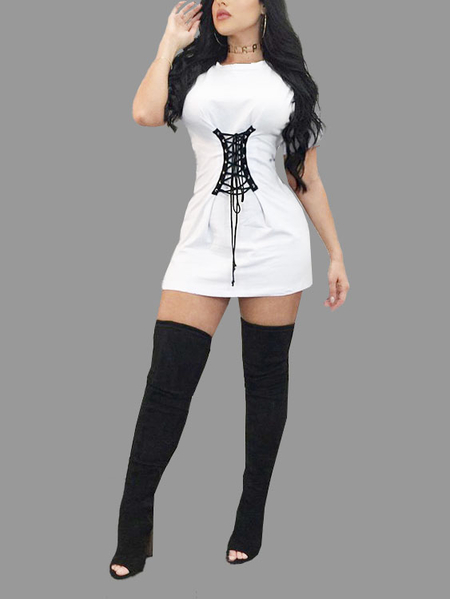 White Lace-up Tight Waist Mini T-shirt Dress