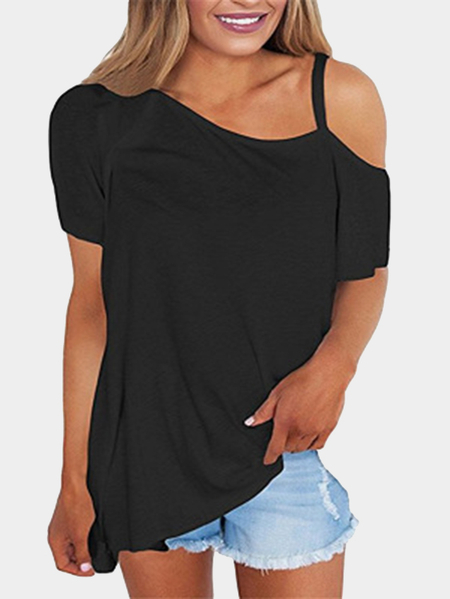 Black Casual One Shoulder Short Sleeve T-shirt