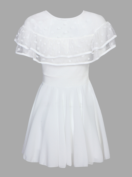 White See-through Mesh Layered Ruffled Pleats Dress