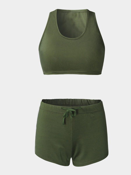 Army Green Sexy Sleeveless Crop Top & Drawstring Waist Skorts Co-ord