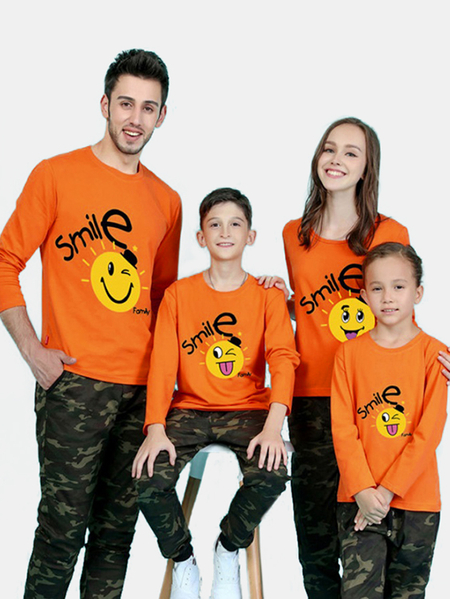 Family Look Round Neck Printed Design Matching Tops in Orange