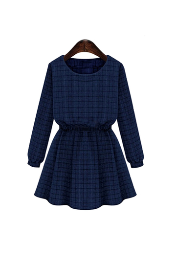 Plus Size Navy Gingham Skater Dress