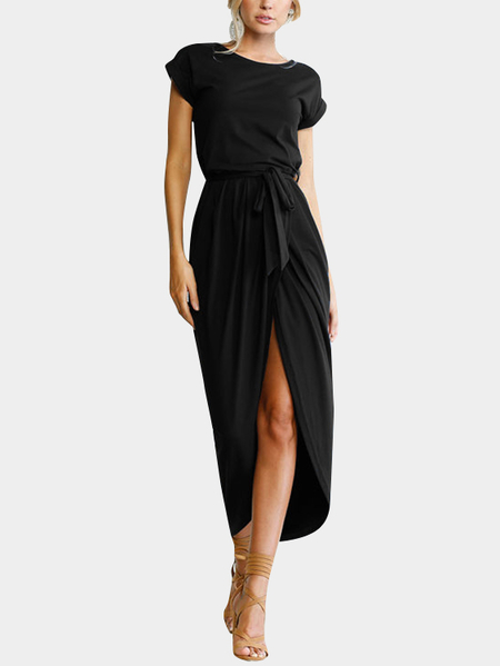 Black Round Neck Short Sleeves Slit Hem Maxi Dress