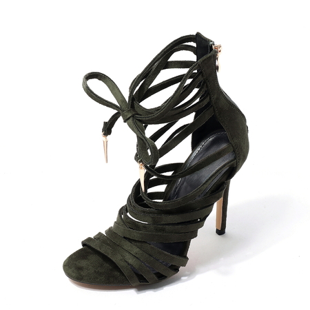 Army Green Suede Lace-up Hollow Out High Heel Sandals