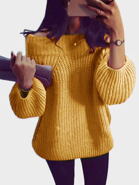 Yellow Off The Shoulder Pullover Long Sleeves Sweater