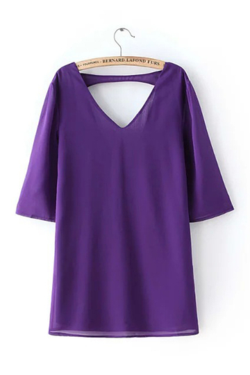 V-neck Triangle Cutout Mini Dress in Purple